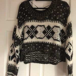 Free People Stripe Geometric Christmas Sweater